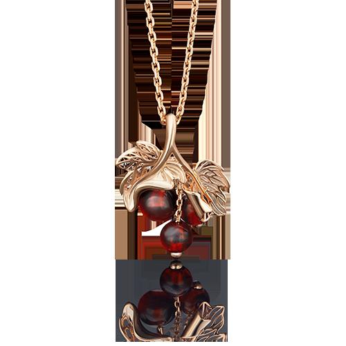 Подвеска из красного золота со вставками: янтарь