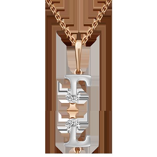 """Подвеска буква """"Г"""" из красного золота со вставками: Сваровски gems"""