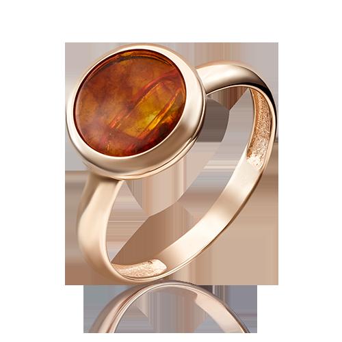 Кольцо из красного золота со вставками: янтарь