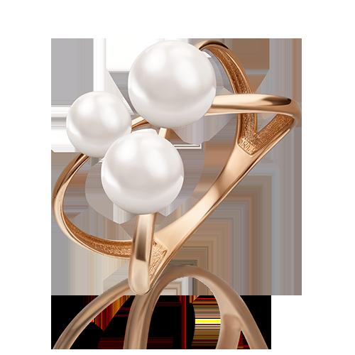 Кольцо из красного золота со вставками: жемчуг культивированный