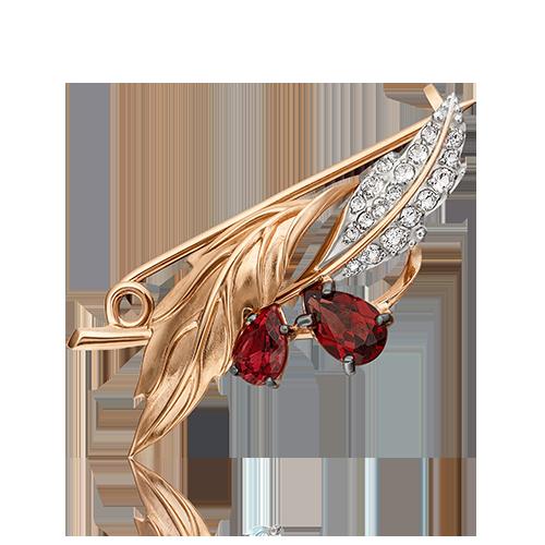 Брошь из красного золота со вставками: топаз, гранат