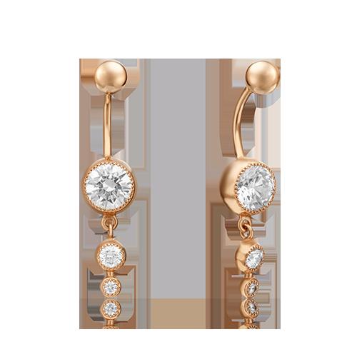 Пирсинг из красного золота со вставками: Сваровски gems 06-0646-00-501-1110-38 platina фото