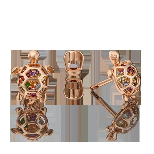 Серьги из красного золота со вставками: аметист, гранат, хризолит, топаз, цитрин, хромдиопсид