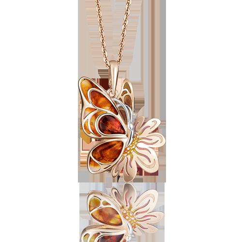 """Подвеска """"Бабочка"""" из красного золота со вставками: янтарь"""