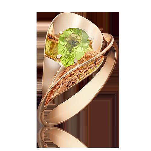 Кольцо из красного золота со вставками: хризолит