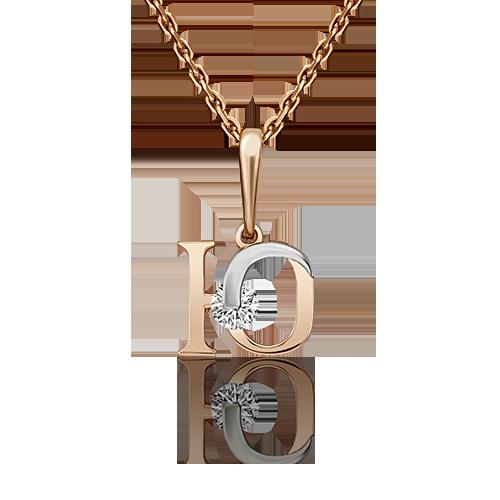 """Подвеска буква """"Ю"""" из красного золота со вставками: Сваровски gems"""