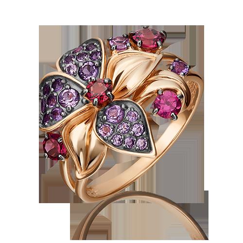Кольцо из красного золота со вставками: аметист, гранат