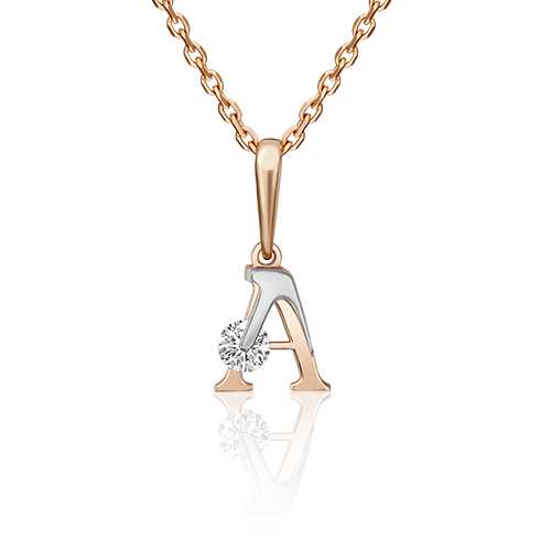 """Подвеска буква """"А"""" из красного золота со вставками: Сваровски gems"""