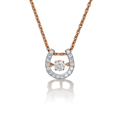 """Подвеска """"Подкова"""" из красного золота со вставками: Сваровски gems"""