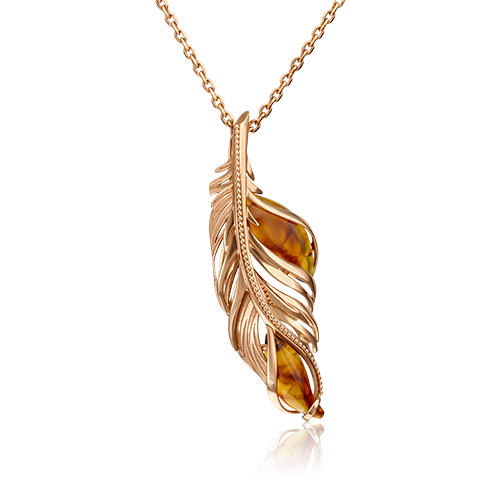 """Подвеска """"Перо"""" из красного золота со вставками: янтарь"""