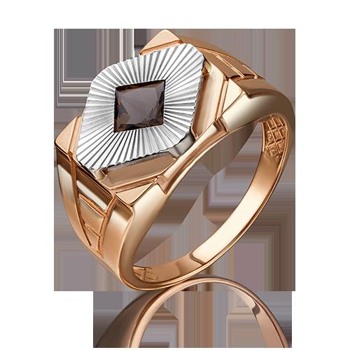 Кольцо из красного золота со вставками: кварц