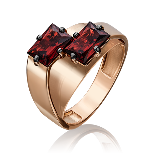 Кольцо из красного золота со вставками: гранат