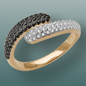 Кольцо из красного золота со вставками: фианит, фианит