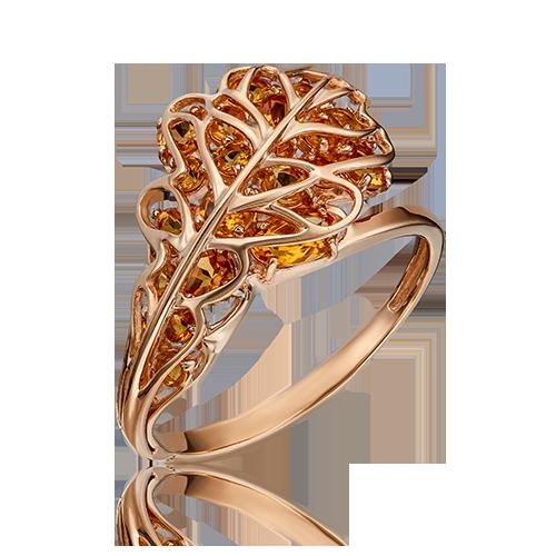 Кольцо из красного золота со вставками: цитрин