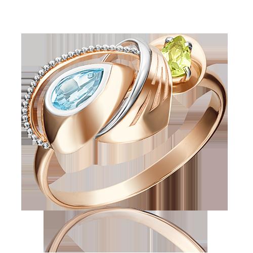 Кольцо из красного золота со вставками: топаз, хризолит