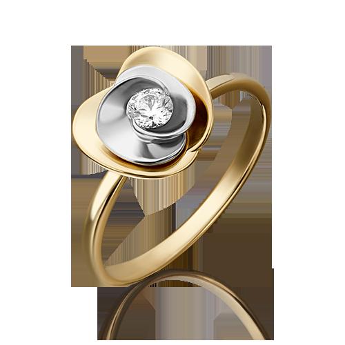 Кольцо из белого с лимонным золота со вставками: Сваровски gems