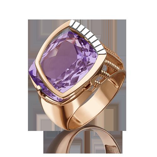 Кольцо из красного золота со вставками: аметист