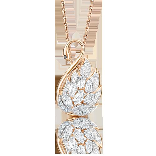 """Подвеска """"Лебедь"""" из красного золота со вставками: Сваровски gems, Сваровски gems"""