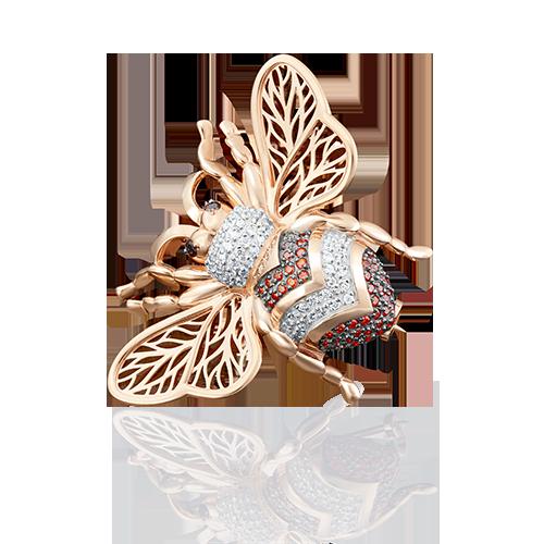 Брошь в виде жука из красного золота со вставками: фианит