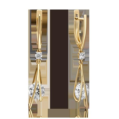 Серьги из лимонного золота со вставками: Сваровски gems