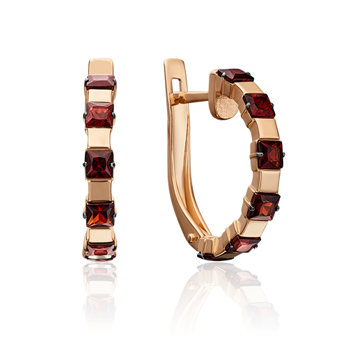 Серьги из красного золота со вставками: гранат