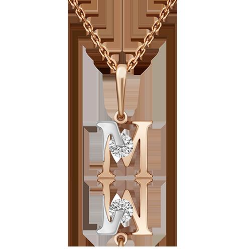 Подвеска буква М из красного золота со вставками: Сваровски gems