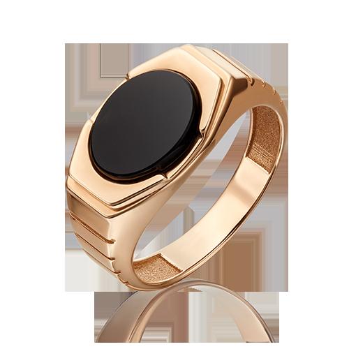 Кольцо из красного золота со вставками: оникс
