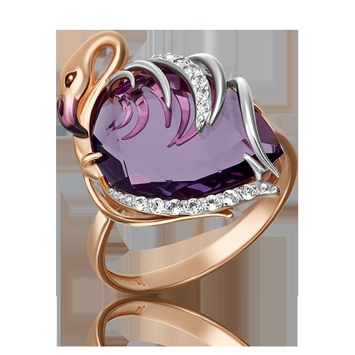 Кольцо из красного золота со вставками: топаз, аметист
