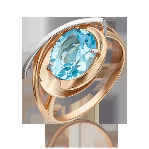 Кольцо из красного золота со вставками: топаз
