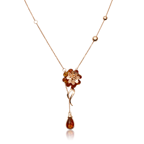Колье из красного золота со вставками: янтарь