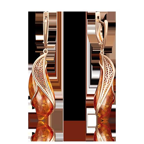 Серьги из красного золота со вставками: янтарь