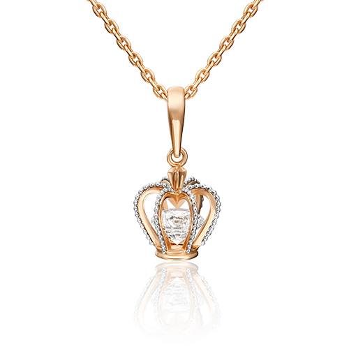"""Подвеска """"Корона"""" из красного золота со вставками: Сваровски gems"""