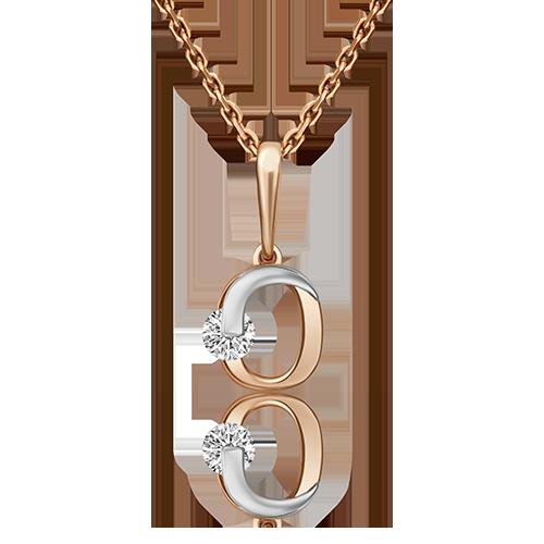 Подвеска буква О из красного золота со вставками: Сваровски gems