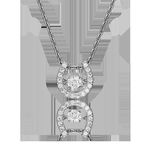 """Подвеска """"Подкова"""" из белого золота со вставками: Сваровски gems"""