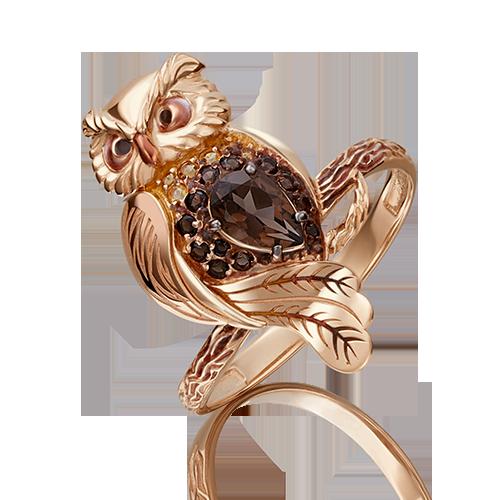 Кольцо из красного золота со вставками: кварц, цитрин