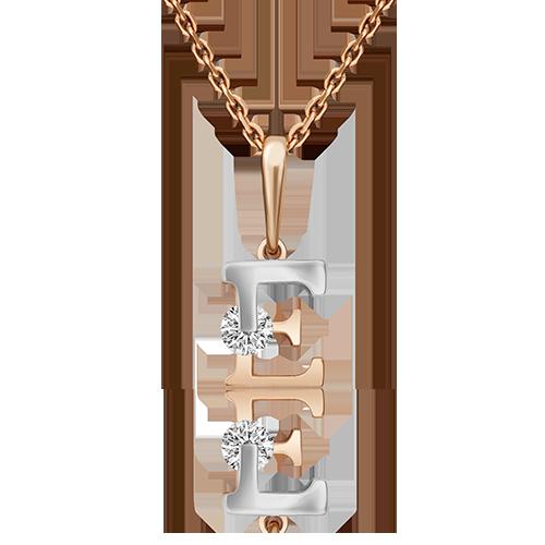 """Подвеска буква """"Е"""" из красного золота со вставками: Сваровски gems"""