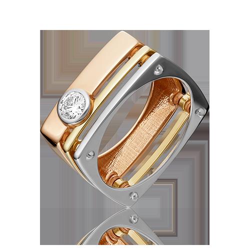 Кольцо из разноцветного золота со вставками: Сваровски gems