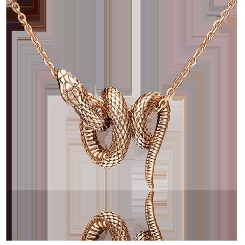 """Подвеска """"Змея"""" из красного золота"""