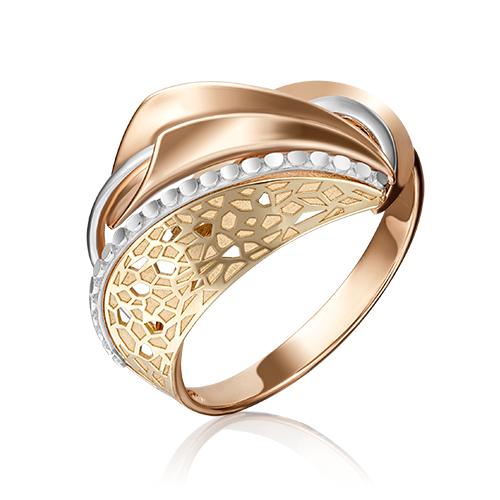 Кольцо из красного с лимонным золота