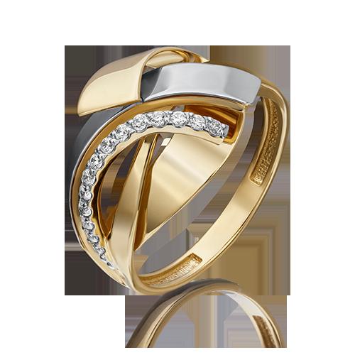 Кольцо из белого с лимонным золота