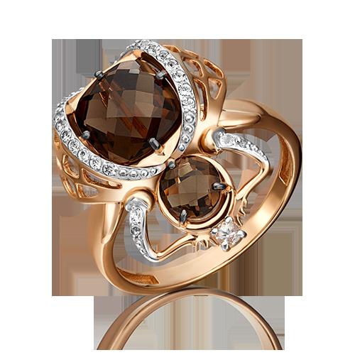 Кольцо из красного золота со вставками: топаз, кварц