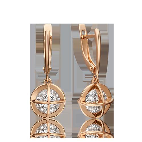 Серьги из красного золота со вставками: Сваровски gems