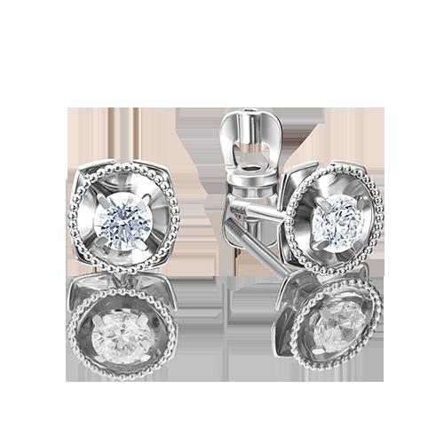 Серьги из белого золота со вставками: Сваровски gems