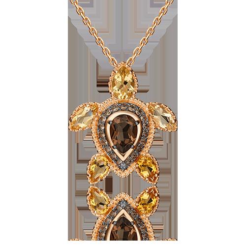 "Подвеска ""Черепаха"" из красного золота со вставками: кварц, цитрин"