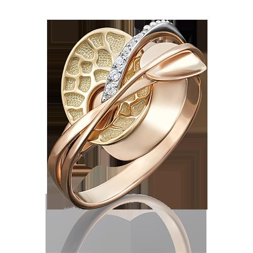 Кольцо из разноцветного золота