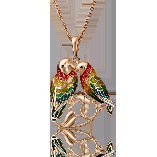 """Подвеска """"Попугаи"""" из красного золота со вставками: фианит"""