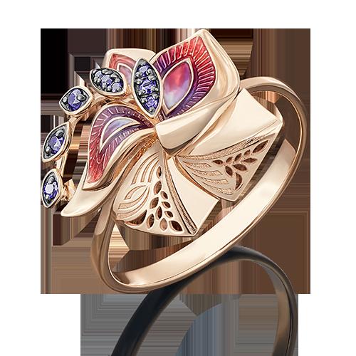 Кольцо из красного золота со вставками: фианит