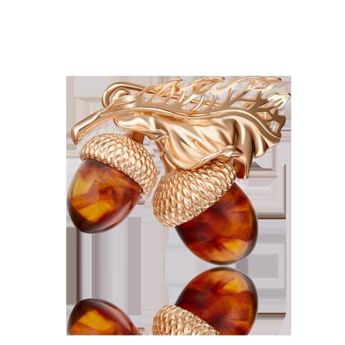 Брошь в виде желудей из красного золота со вставками: янтарь
