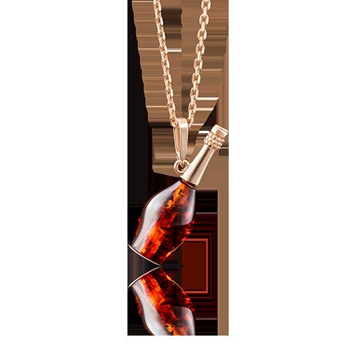 """Подвеска """"Янтарная бутылка"""" из красного золота со вставками: янтарь"""