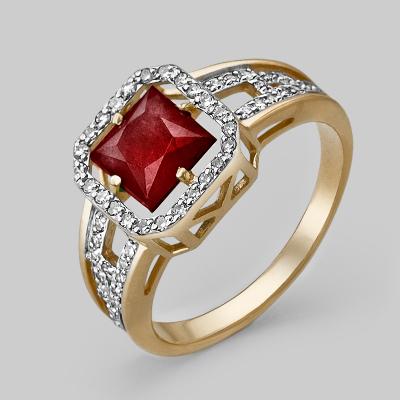 Кольцо из красного золота со вставками: гранат, фианит